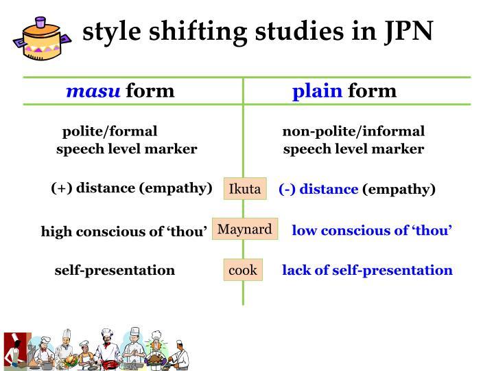 style shifting studies in JPN