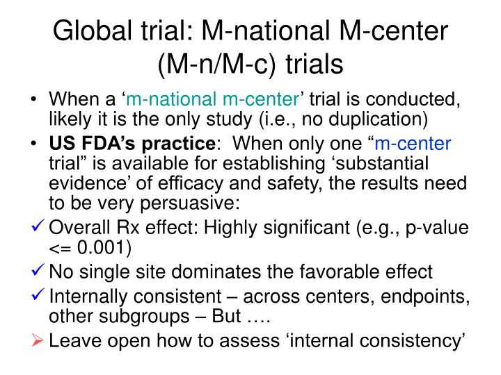 Global trial: M-national M-center