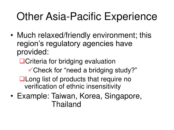 Other Asia-Pacific Experience