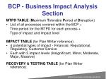 bcp business impact analysis section