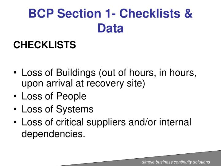 BCP Section 1- Checklists & Data