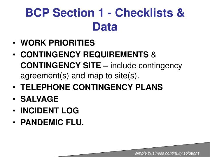 BCP Section 1 - Checklists & Data