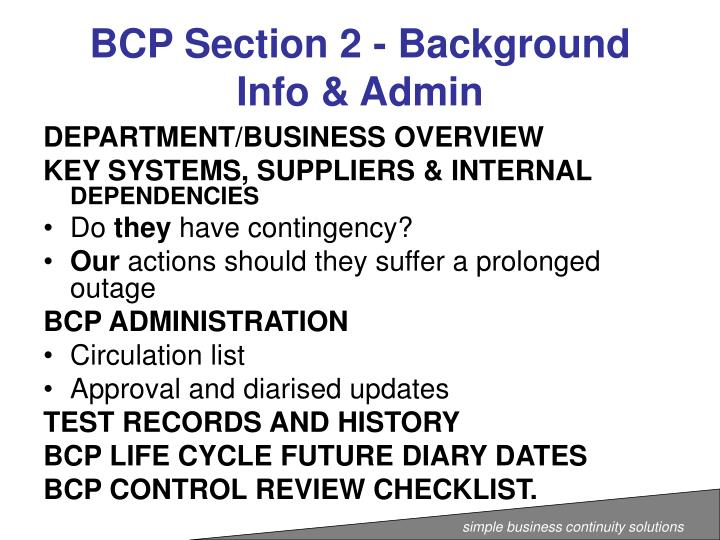 BCP Section 2 - Background