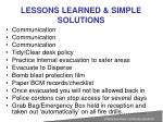 lessons learned simple solutions