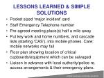 lessons learned simple solutions1
