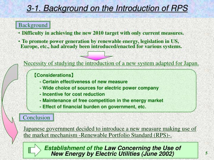 3-1. Background on the Introduction of RPS