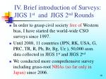 iv brief introduction of surveys jigs 1 st and jigs 2 nd rounds