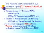 the meaning and connotation of civil society in japan 2 recent situation