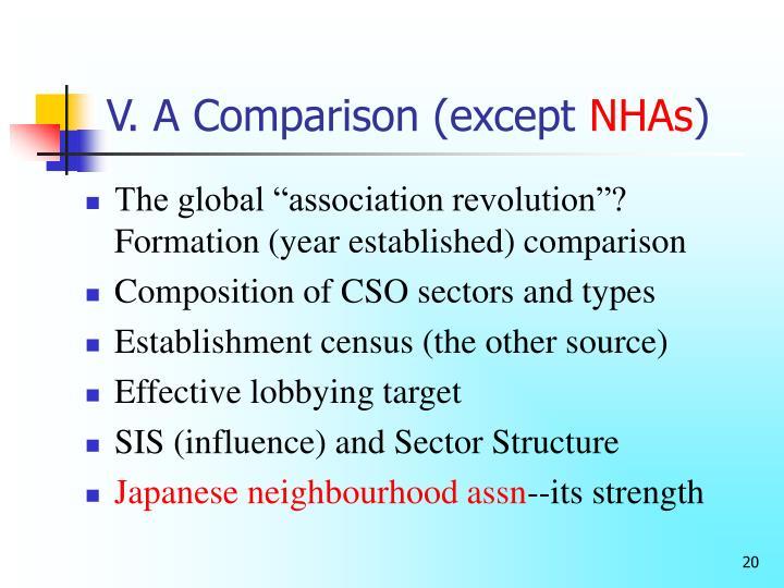 V. A Comparison (except