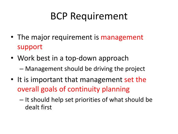 BCP Requirement