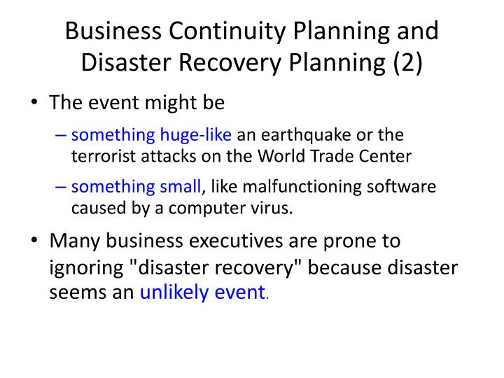 Business Continuity Planning and Disaster Recovery Planning (2)