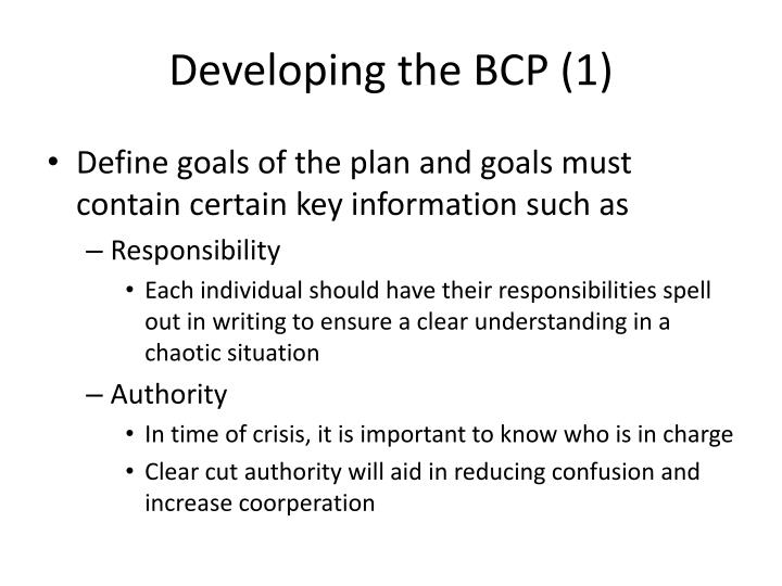 Developing the BCP (1)