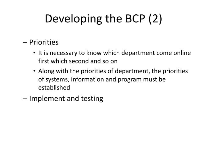 Developing the BCP (2)
