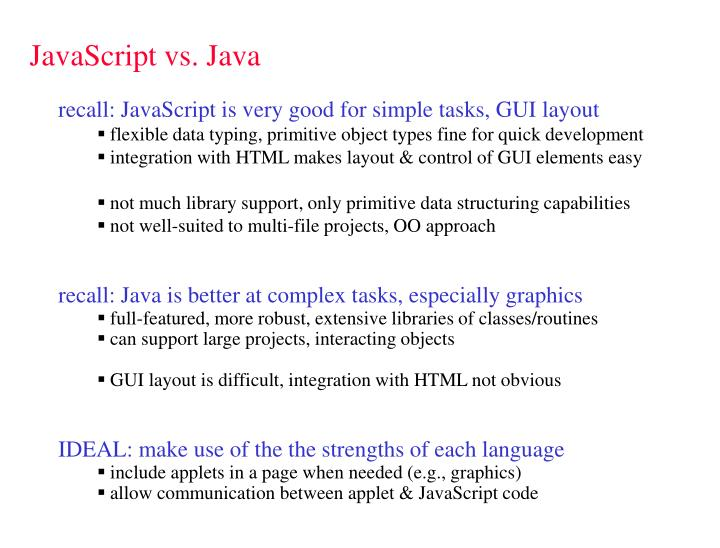 JavaScript vs. Java