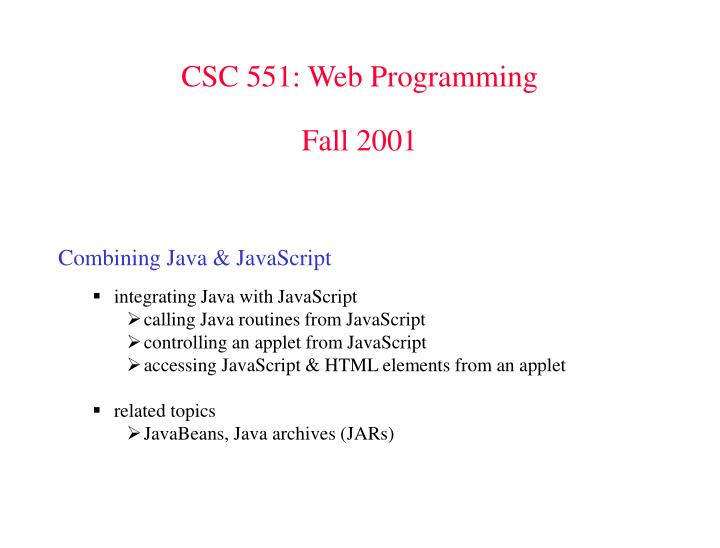 CSC 551: Web Programming