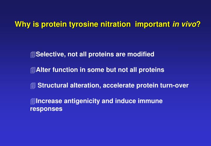 Why is protein tyrosine nitration  important