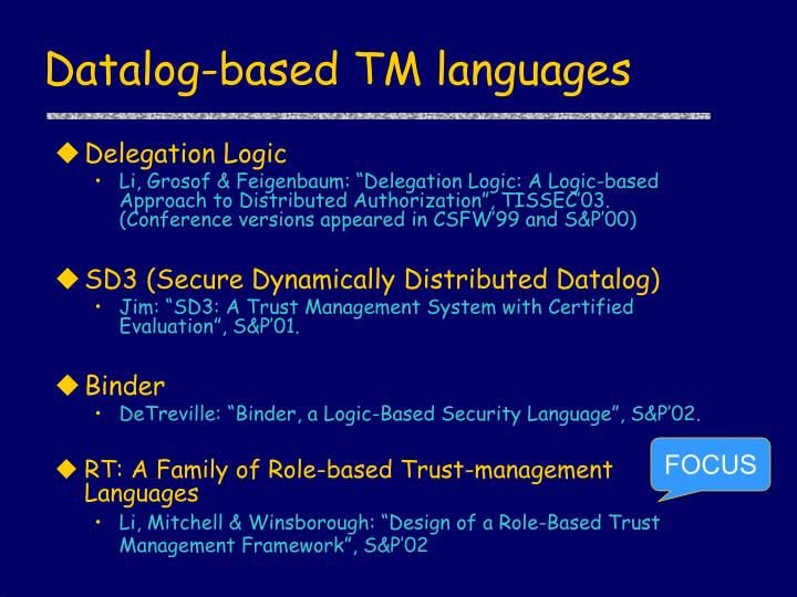 Datalog-based TM languages