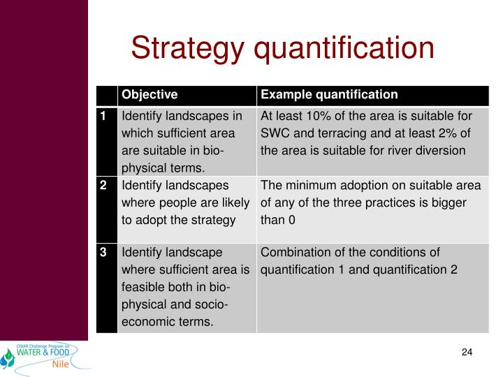 Strategy quantification