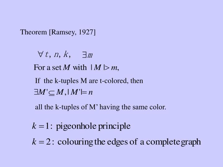 Theorem [Ramsey, 1927]