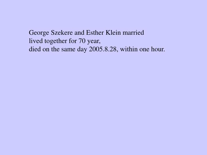 George Szekere and Esther Klein married