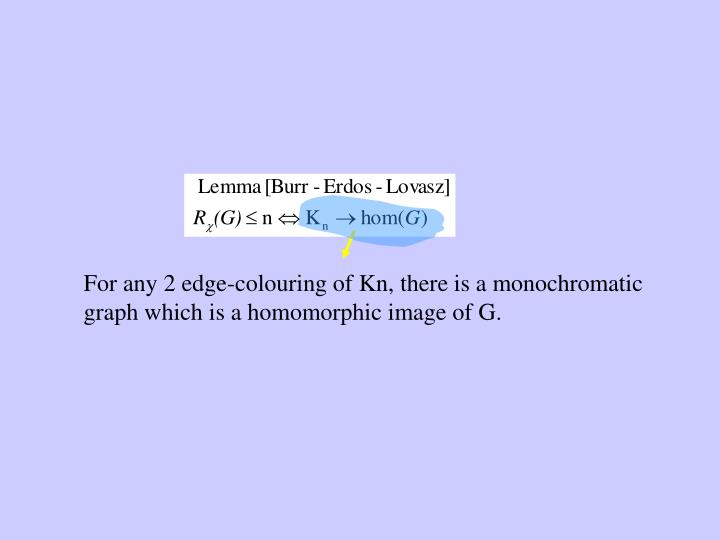 For any 2 edge-colouring of Kn, there is a monochromatic