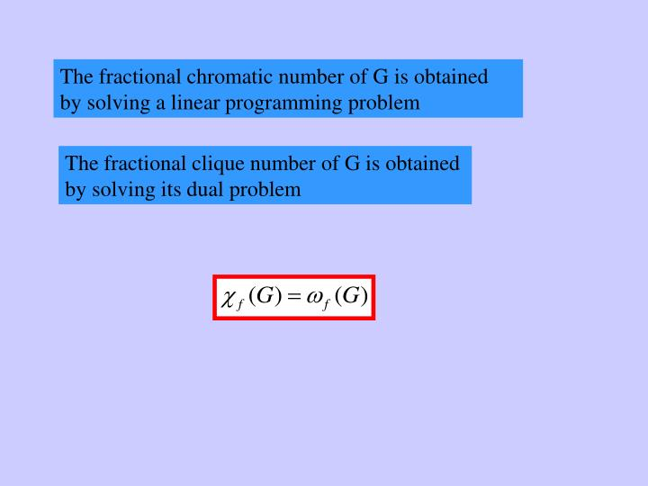 The fractional chromatic number of G is obtained