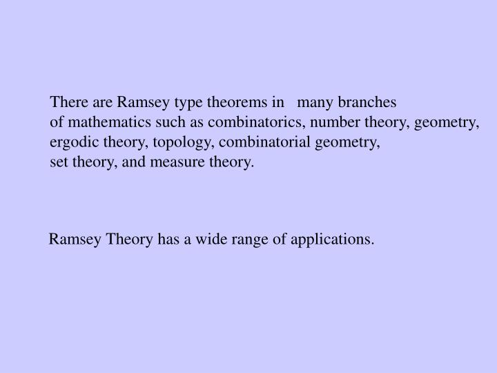 There are Ramsey type theorems in   many branches