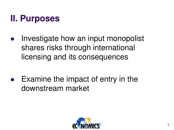 II. Purposes