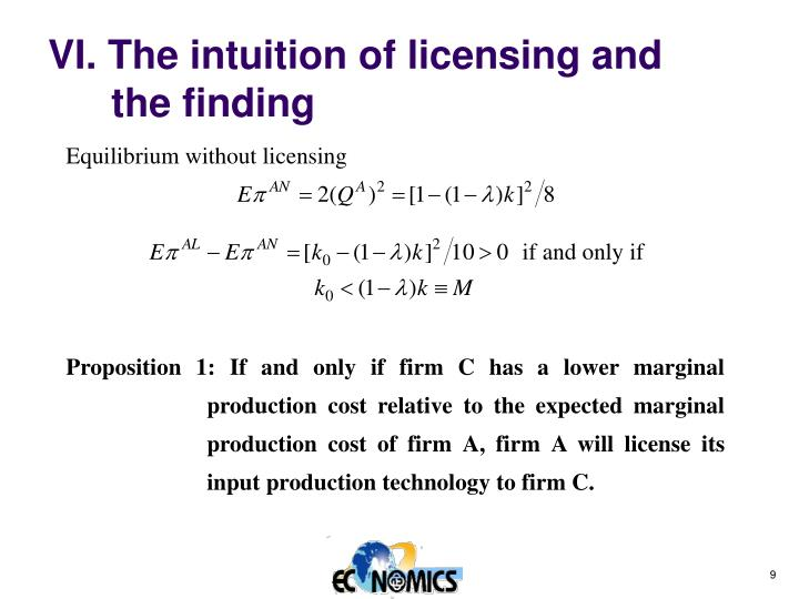VI. The intuition of licensing and the finding