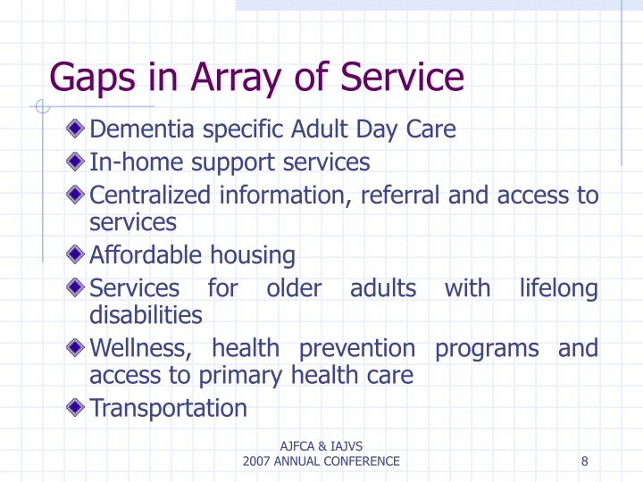 Gaps in Array of Service