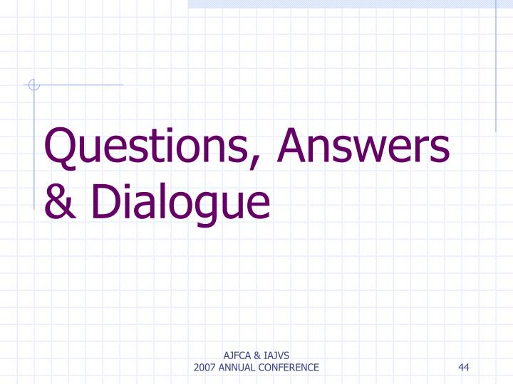 Questions, Answers & Dialogue