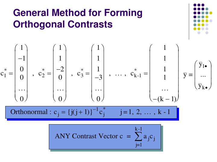 General Method for Forming Orthogonal Contrasts