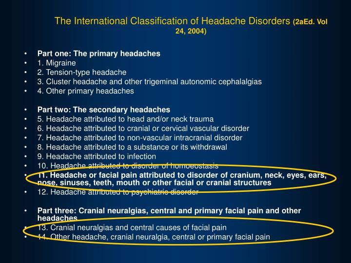 The International Classification of Headache Disorders