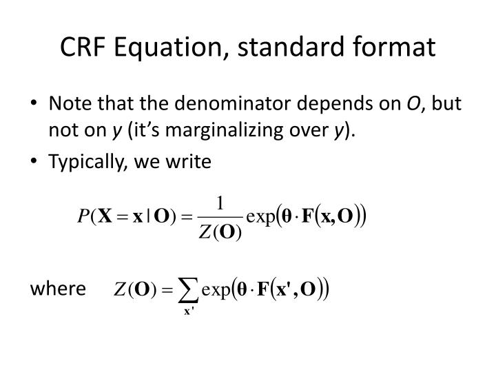 CRF Equation, standard format