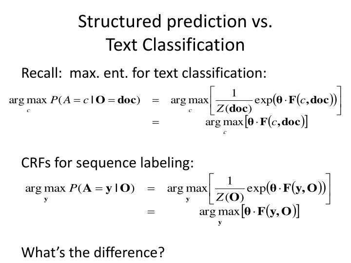 Structured prediction vs.