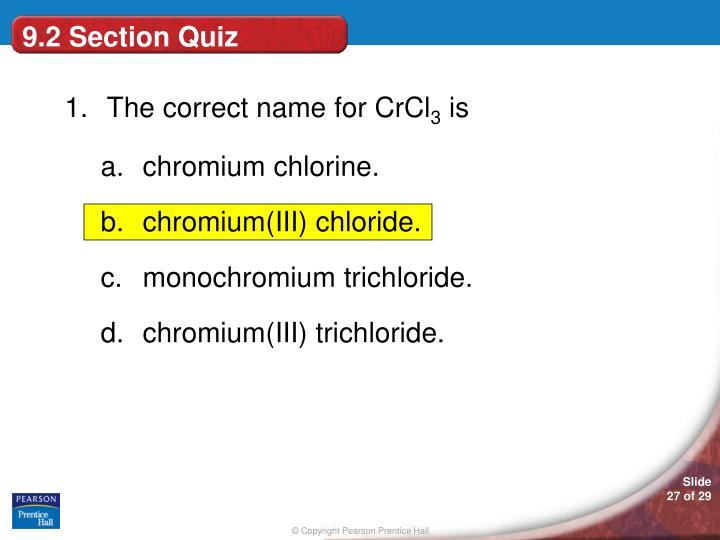 9.2 Section Quiz