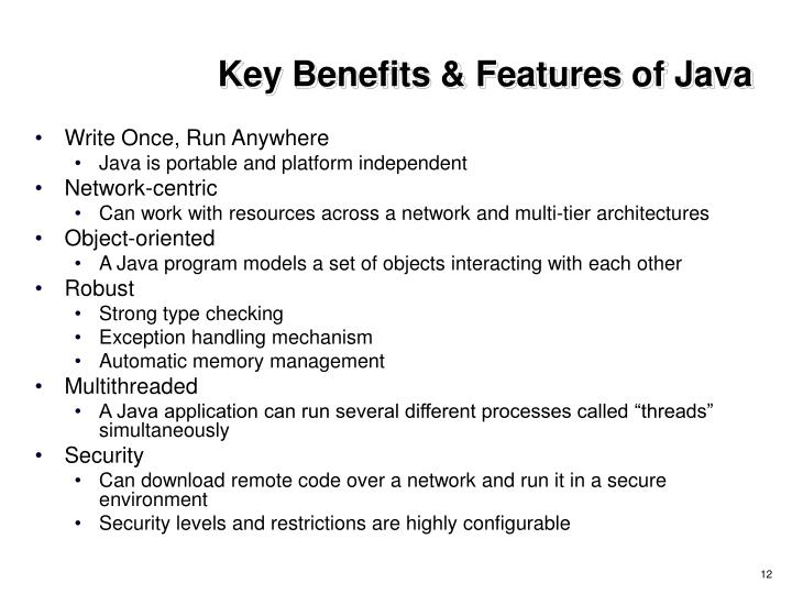 Key Benefits & Features of Java
