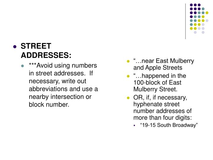 STREET ADDRESSES: