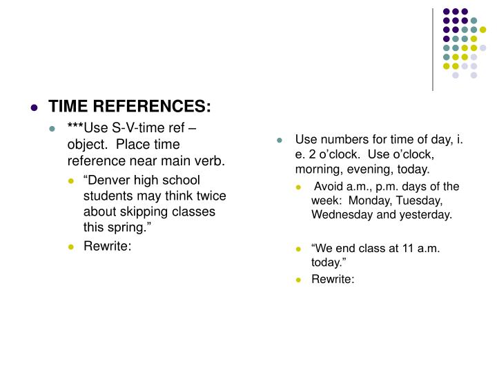 TIME REFERENCES:
