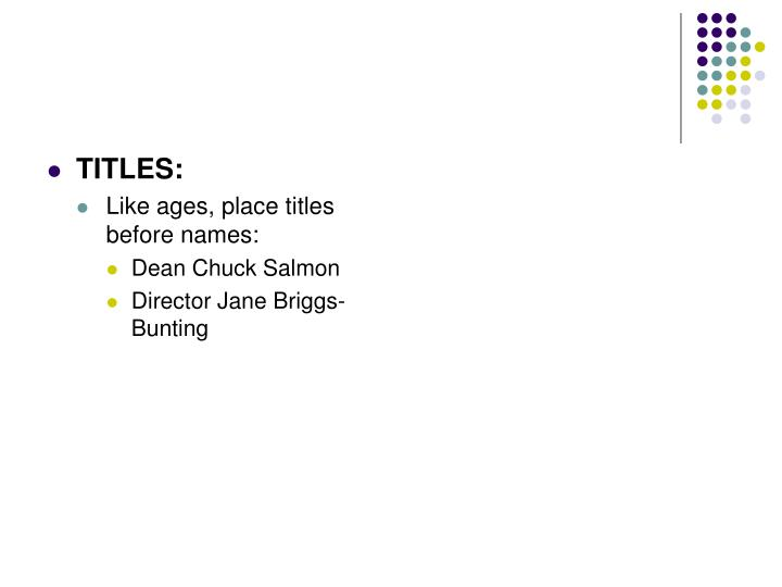 TITLES: