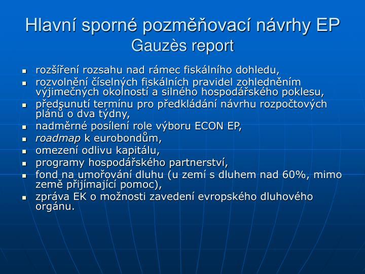 Hlavní sporné pozměňovací návrhy EP