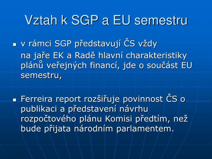 Vztah k SGP a EU semestru