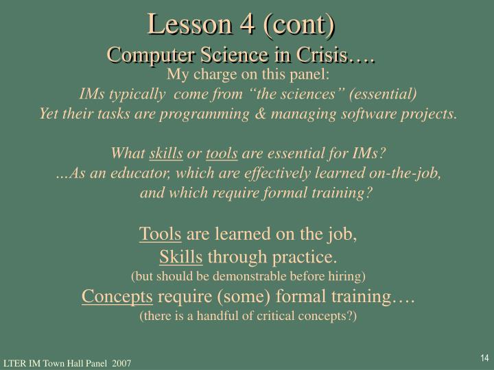 Lesson 4 (cont)