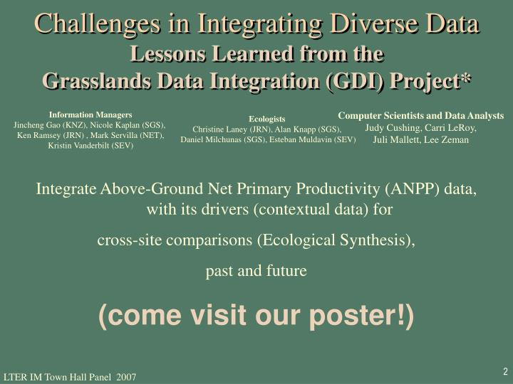 Challenges in Integrating Diverse Data