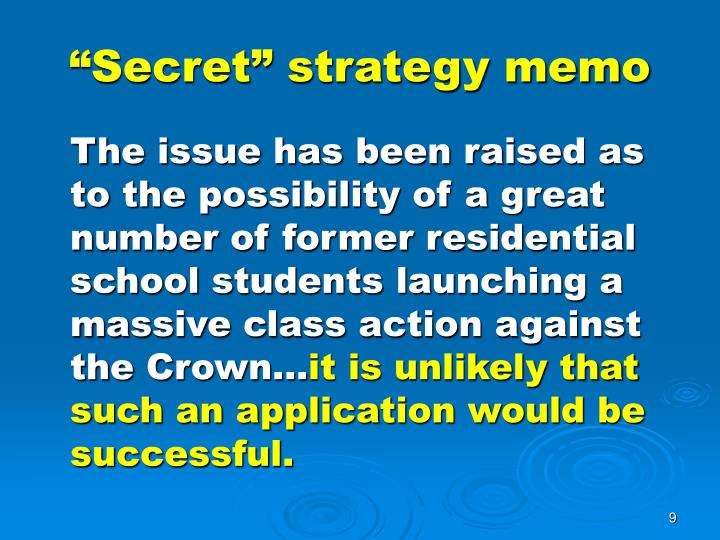 """Secret"" strategy memo"