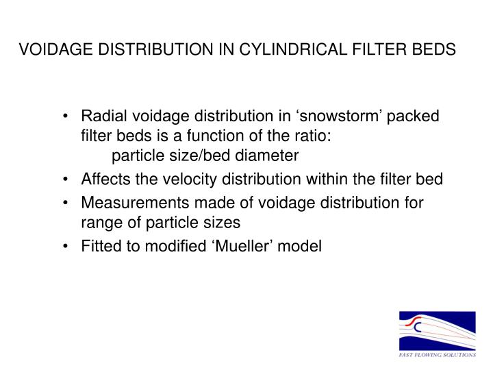 VOIDAGE DISTRIBUTION IN CYLINDRICAL FILTER BEDS