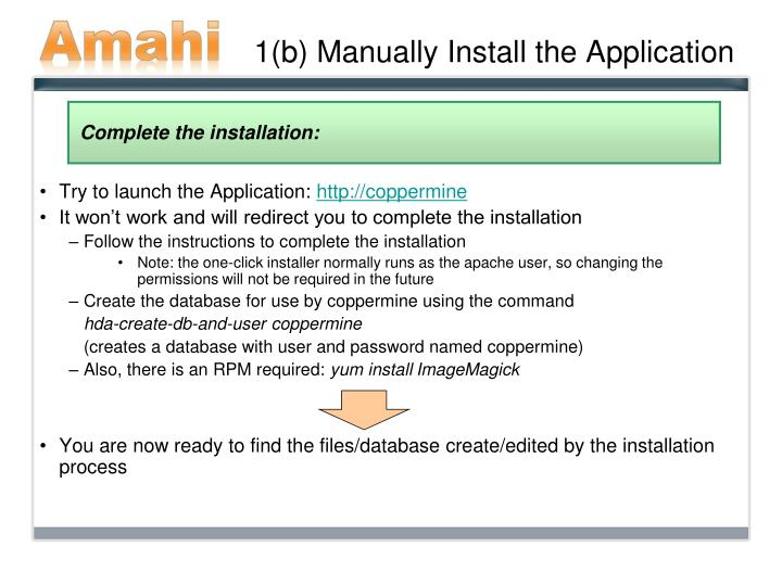 1 b manually install the application
