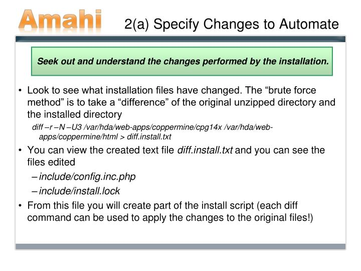 2(a) Specify Changes to Automate