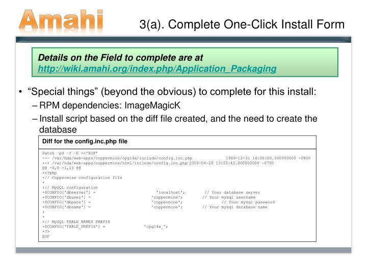 3(a). Complete One-Click Install Form