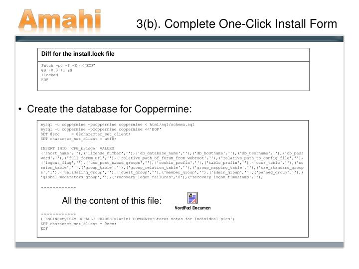 3(b). Complete One-Click Install Form